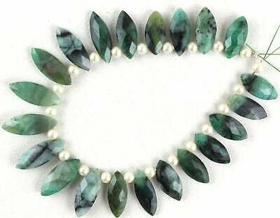 20 Pcs Natural Emerald Gemstone Polished Faceted Marquise Shape Size 7x15-7.5x20