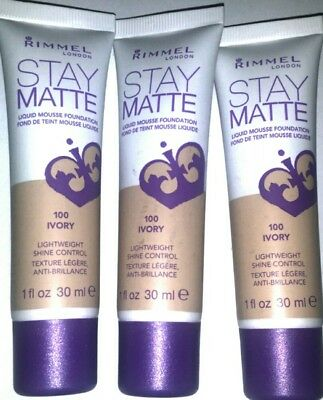 3× Rimmel Stay Matte Foundation - Ivory 100