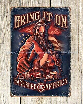 US SELLER-metal wall medallion firefighter American bring it on metal tin sign