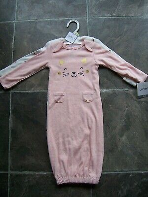 BNWT Baby Girl's Carter's 2 Pack Pink & White Sleeper Gowns/Sleep Sack Size 000