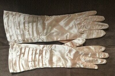 Vtg 50s 60s GOLD Silky Pleated Ruffle GOODWOOD Picnic Gucci Style Gloves Xs 7.5