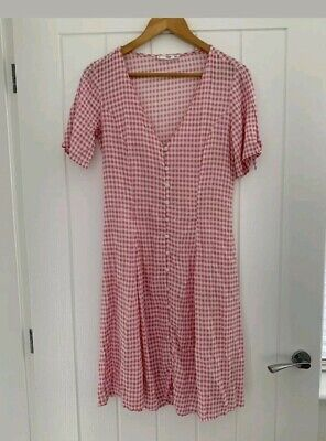 ea869239cbf9 Mango Pink and White Gingham checked A line knee length summer Dress Size  XS 8