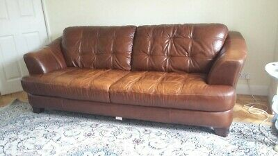Three-Seater Leather Sofa in Excellent Condition and Desirable Brown Colour