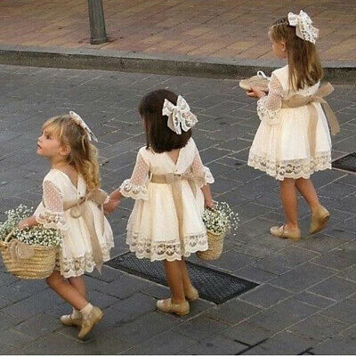 Flower Girl Dress Lace Flower Baby Princess Pageant Party Bridesmaid Dresses UK