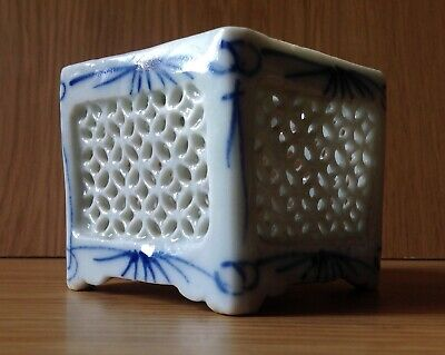 19th century Japanese Fine Porcelain Cricket Box, Hand Decorated Blue & White