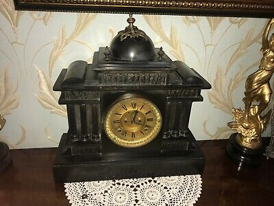 Black marble slate 19th century architectural style mantle striking clock clock
