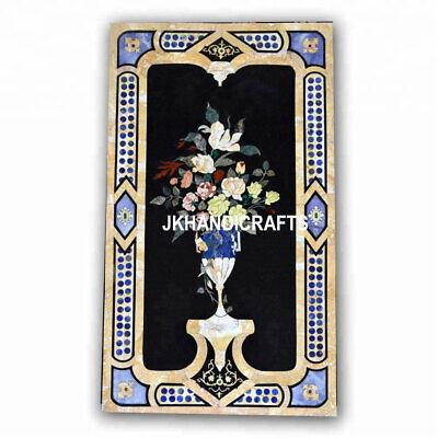 Black Marble Dining Table Top Beautiful Inlay Art Antique Furniture Decor Gift