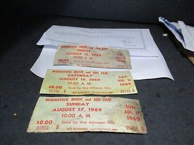 1969 ORIGINAL WOODSTOCK TICKET Lot of 3  Friday  Saturday Sunday PEACE LOVE  A17