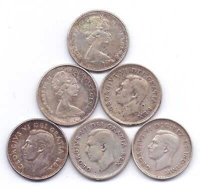 6 Coins Canada Silver 10 Cents