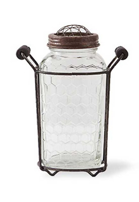 6.75 Inch Metal Handled Holder with Lidded  Jar and Honeycomb embossed glass