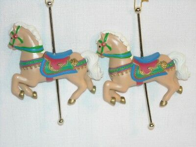 Carousel Horse Ornaments Christmas Holiday 2/Pr Resin Gold Tone Pole 3.5x4-3/4+