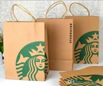 Lot X 20 Starbucks Reusable Brown Paper Shopping Lunch Gift Bags With Handles