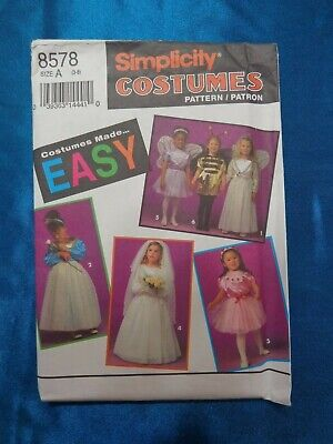 Simplicity Costume Pattern 8578 EASY Girl's 3-8 Princess Butterfly Bride Fairy
