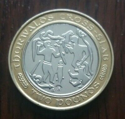RARE. 2001 Isle of Man Two Pound Coin - Thorwald's Cross-Slab,  UNCIRCULATED.