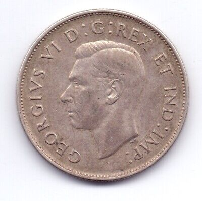 1 Silver Canadian Coin 1943 50c Fifty Cents 11.8g King George VI