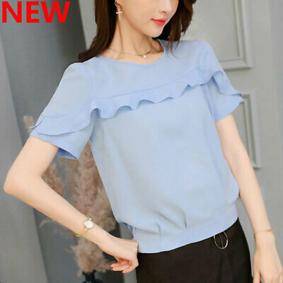 Ladies Summer Top Blouse Loose Fashion Shirt Short Sleeve T-Shirt Chiffon Women