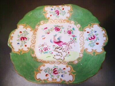 Antique Coalport Caulden Green Batwing Cake Plate With Birds Of Paradise