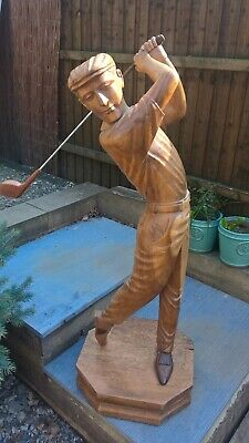 Vintage Golfing statue in solid wood beautiful well crafted item unique