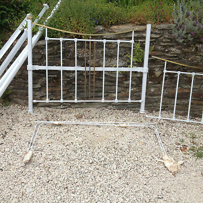 Antique Vintage Art Deco White Wrought Iron Brass Double Bed Canopy