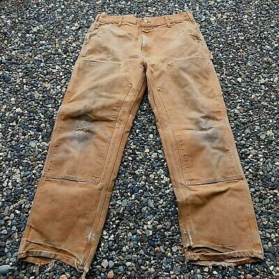 Carhartt DISTRESSED Double Knee Carpenter Pants USA MADE Brown WORN Work Jeans