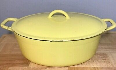 Descoware, Belgum Flame Yellow Enameled Cast Iron Oval Dutch Oven 3-C 12