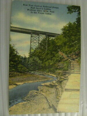 Postcard Watkins Glen State park New York New York Central Railroad Bridge VTG