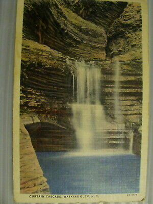 Postcard Watkins Glen State park New York Curtain Cascade vtg