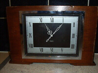 Smiths Vintage Art Deco 8-Day Wooden Case Mantel Clock