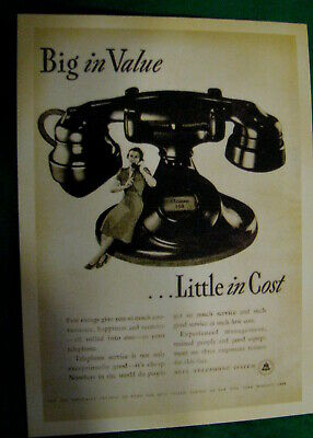 Postcard Old Fashioned Telephone Big in value Little in Cost