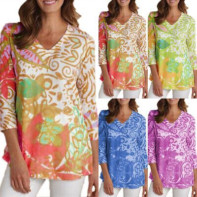 Women 3/4 Sleeve V-neck T-shirt Summer Casual Printed Tunic Top Tee Slim Blouse