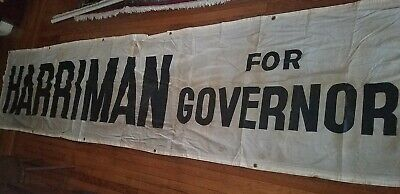 3 Foot X 12 1/2 Foot Canvas Street Banner 1954 Averell Harriman Campaign