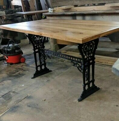 Victorian antique cast iron table dated bespoke oak top DELIVERY FREE  Or £25 Uk