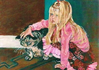 ACEO Cat with Little Girl,Acrylic Painting PRINT, ATC by Patty Fleckenstein