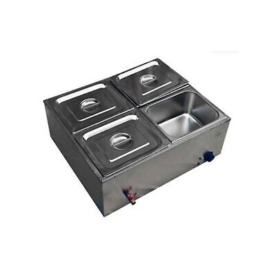 Commercial Electric Stainless Steel 4 Compartment Drop-in Food Well - 220 volts