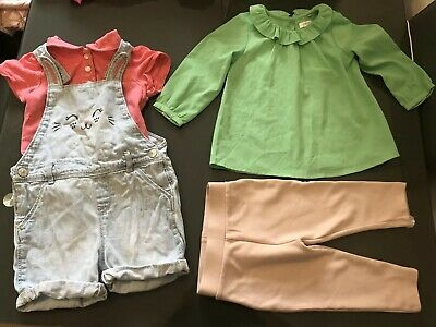River Island Next H&M Bundle Baby Girl 9-12 Months Trousers Shirt Playsuit (80)