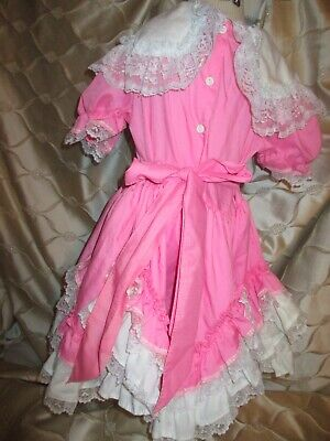 839578385d3fc Vintage SZ 5 PINK Dollys Circle Frilly Lace Ruffle Dress Lidl Dolly RARE