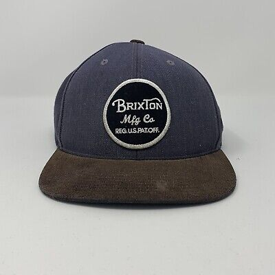 03e3493a Men's Brixton Mfg Co Hat Flat Brim Adjustable Blue Brown Used Clean Snapback