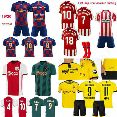19/20 Football Soccer Kits Short Sleeve Strips Jersey Suit Kids Boys+Socks