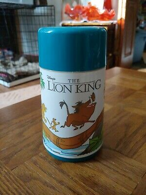 DISNEY THE LION KING HAKUNA MATATA PLASTIC LUNCH BOX turquoise THERMOS ONLY 90s