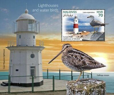 Z08 IMPERF MLD190110b MALDIVES 2019 Lighthouses water birds MNH