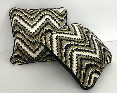 2 Mid Century Black Gold White Throw Accent Pillows Vintage NOS Pair