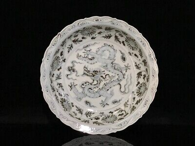 """9"""" Chinese antique Porcelain ming Hongwu Blue & white dragon flowers plate"""
