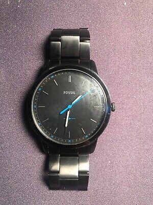 37de40ffc FOSSIL FS5308 The Minimalist Slim Black Satin Stainless Steel 44mm Men's  Watch