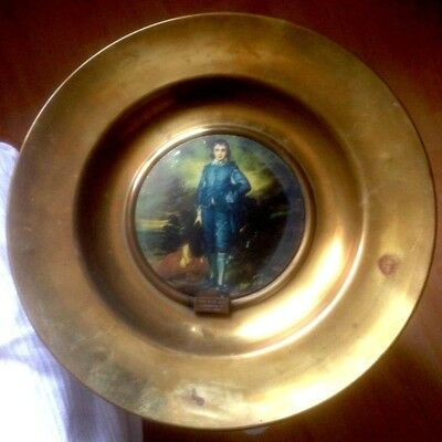 Large The Blue Boy Gainsborough Antique Brass Finish Mixed Metal Trafford Plaque