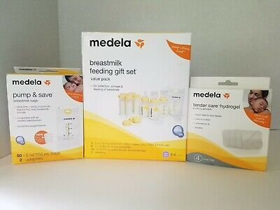 Medela breastmilk feeding gift set includes storage bottles & bags hydrogel pads