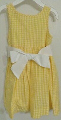 aed4a8464 Ralph Lauren Polo Baby Girls Yellow And White Gingham Seersucker Dress Set  12M