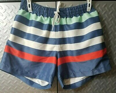 6227519864 CHUBBIES RED WHITE & Blue Striped Swim Shorts Elastic Waist Trunks ...