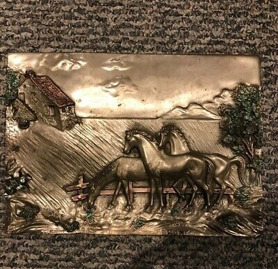 Antique Italian Horse Farm Sterling Silver Plated Arg 925 Plaque