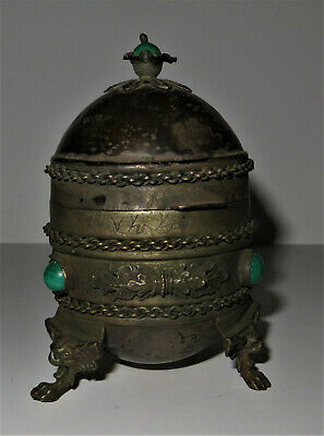 Russian Silver, Gold and Malachite Easter Egg