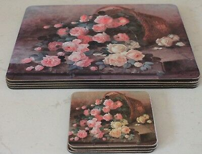 Pink Roses Place Mats Coasters Set 4 Pimpernel UK Vintage Artist JV Steensel